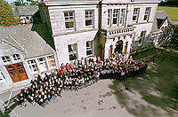 School photograph. All the children and teaching staff have assembled in front of the school building to pose for the photograph. This image may only be used to portray the subject in a positive manner..©shoutpictures.com..john@shoutpictures.com