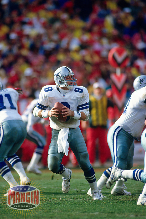 SAN FRANCISCO, CA - Quarterback Troy Aikman of the Dallas Cowboys in action during a game against the San Francisco 49ers at Candlestick Park in San Francisco, California in 1993. Photo by Brad Mangin
