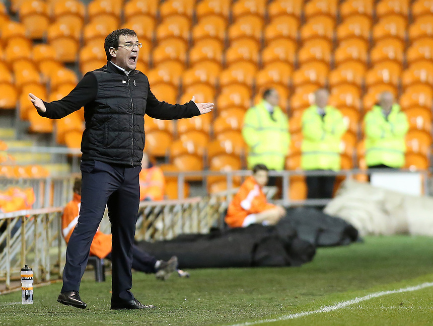 Blackpool manager Gary Bowyer shouts instructions to his team from the technical area<br /> <br /> Photographer David Shipman/CameraSport<br /> <br /> The EFL Sky Bet League Two - Blackpool v Luton Town - Saturday 17th December 2016 - Bloomfield Road - Blackpool<br /> <br /> World Copyright &copy; 2016 CameraSport. All rights reserved. 43 Linden Ave. Countesthorpe. Leicester. England. LE8 5PG - Tel: +44 (0) 116 277 4147 - admin@camerasport.com - www.camerasport.com