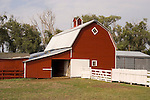 Red barn with cupola, white trim and white fence, Jim Kuszak farm in central Nebraska.