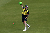Matt Coles of Essex throws the football ahead of Lancashire CCC vs Essex CCC, Specsavers County Championship Division 1 Cricket at Emirates Old Trafford on 9th June 2018