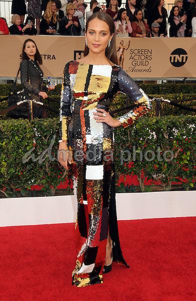 30 January 2016 - Los Angeles, California - Alicia Vikander. 22nd Annual Screen Actors Guild Awards held at The Shrine Auditorium. Photo Credit: Byron Purvis/AdMedia