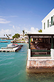 BERMUDA. St. George. View of outside balcony of the White Horse Pub and Restaurant in St. George.