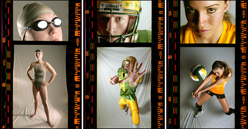 These are selected images from a portrait series of the Bellingham Herald's 2006 Whatcom County Athletes of the Year. Featured, from left, are portraits of Squalicum swimmer Kelly Runestrand, Lynden quarterback Chris Bolt and Lynden volleyball player Jessi Roberts. Images were shot on film and created without digital manipulation.