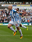 Aaron Mooy of Huddersfield Town celebrates scoring the winning goal during the premier league match at the John Smith's Stadium, Huddersfield. Picture date 20th August 2017. Picture credit should read: Simon Bellis/Sportimage
