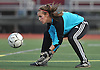 Megan Tornatore, North Shore goalie, secures a loose ball during a Nassau County Class A varsity girls soccer quarterfinal against host Garden City High School on Wednesday, Oct. 26, 2016. Garden City won by a score of 1-0.