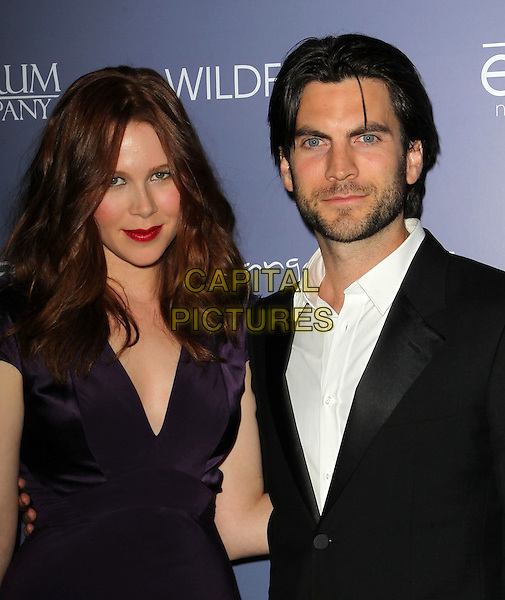 Anna McGahan, Wes Bentley.Australians in Film 8th Annual Breakthrough Awards held at The Hotel Intercontinental in Century City, California, USA..June 27th, 2012.half length purple dress white shirt black suit stubble facial hair .CAP/ADM/KB.©Kevan Brooks/AdMedia/Capital Pictures.