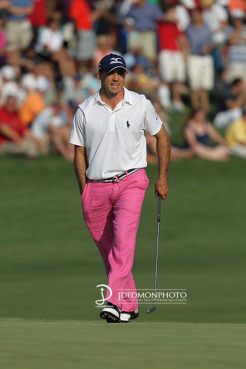 May 8,2011 - Jonathan Byrd walks onto the green at 15  Lucas Glover wins the tournament in sudden death over Jonathan Byrd at Quail Hollow Country Club,Charlotte,NC.