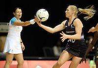 26.07.2015 Silver Ferns Laura Langman in action during the Silver Fern v South Africa netball test match played at Claudelands Arena in Hamilton. Mandatory Photo Credit ©Michael Bradley.