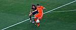 Netherlands Robin Van Persie controls the ball infront of Carlos Puyol during 2010 FIFA World Cup final match, Netherlands vs Spain, Johannesburg, South Africa, Sunday, July, 11, 2010. , Soccer City Stadium (credit & photo: Pedja Milosavljevic / +381 64 1260 959 / thepedja@gmail.com / STARSPORT )