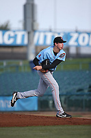 Nate Bertness (12) of the Inland Empire 66ers pitches against the Lancaster JetHawks at The Hanger on September 3, 2017 in Lancaster, California. Lancaster defeated Inland Empire, 5-4. (Larry Goren/Four Seam Images)