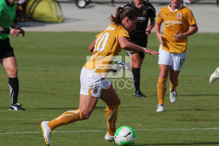 Ramona Bachman (10) of the Atlanta Beat controls the ball. The Atlanta Beat and FC Gold Pride played to a 0 - 0 draw during a Women's Professional Soccer (WPS) match at KSU Atlanta Beat Stadium Kennesaw, GA, on August 1, 2010.