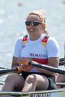 Brandenburg. GERMANY.<br /> GER W4X. Lisa SCHMIDLA, at the start of their heat. 2016 European Rowing Championships at the Regattastrecke Beetzsee<br /> <br /> Friday  06/05/2016<br /> <br /> [Mandatory Credit; Peter SPURRIER/Intersport-images]