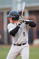 Ben Breazeale (9) of the Wake Forest Demon Deacons at bat against the Davidson Wildcats at Wilson Field on March 19, 2014 in Davidson, North Carolina.  The Wildcats defeated the Demon Deacons 7-6.  (Brian Westerholt/Four Seam Images)
