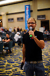 "PS Team Pro Daniel Negreanu welcomes the players and says, ""Shuffle Up and Deal."""