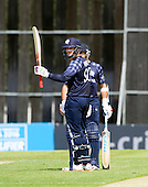 ICC World T20 Qualifier - GROUP B MATCH - SCOTLAND V UAE at Grange CC, Edinburgh - Munsey signals his 50 — credit @ICC/Donald MacLeod - 09.07.15 - 07702 319 738 -clanmacleod@btinternet.com - www.donald-macleod.com