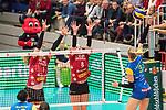 20.12.2017, Margon-Arena, Dresden, GER, DVV-Pokal Damen Halbfinale, Dresdner SC vs. SSC Palmberg Schwerin, im Bild<br /> <br /> <br /> Louisa Lippmann (#3, SSC Palmberg Schwerin), Barbara Wezorke (#1, Dresdner SC), Marrit Jasper (#8, Dresdner SC), <br /> <br /> Foto &copy; nordphoto / Dostmann