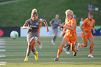 Lianne Sanderson (10) of the Philadelphia Independence and Daphne Koster (4) of Sky Blue FC. The Philadelphia Independence defeated Sky Blue FC 2-1 during a Women's Professional Soccer (WPS) match at John A. Farrell Stadium in West Chester, PA, on June 6, 2010.