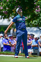 Jon Rahm (ESP) reacts to barely missing his putt on 9 during the round 1 of the Dean &amp; Deluca Invitational, at The Colonial, Ft. Worth, Texas, USA. 5/25/2017.<br /> Picture: Golffile | Ken Murray<br /> <br /> <br /> All photo usage must carry mandatory copyright credit (&copy; Golffile | Ken Murray)