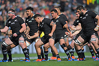 The All Blacks perform a haka before the international rugby union match between the New Zealand All Blacks and Tonga at FMG Stadium in Hamilton, New Zealand on Saturday, 7 September 2019. Photo: Dave Lintott / lintottphoto.co.nz