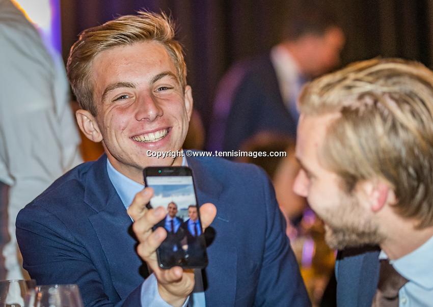 The Hague, The Netherlands, September 13, 2017,  Sportcampus , Davis Cup Netherlands - Chech Republic, Official Dinner, Tallon Griekspoor (NED)<br /> Photo: Tennisimages/Henk Koster