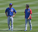 (L-R) Kyuji Fujikawa, Tsuyoshi Wada (Cubs),<br /> AUGUST 7, 2014 - MLB :<br /> Kyuji Fujikawa and Tsuyoshi Wada of the Chicago Cubs talk during practice before the Major League Baseball game against the Colorado Rockies at Coors Field in Denver, Colorado, United States. (Photo by AFLO)