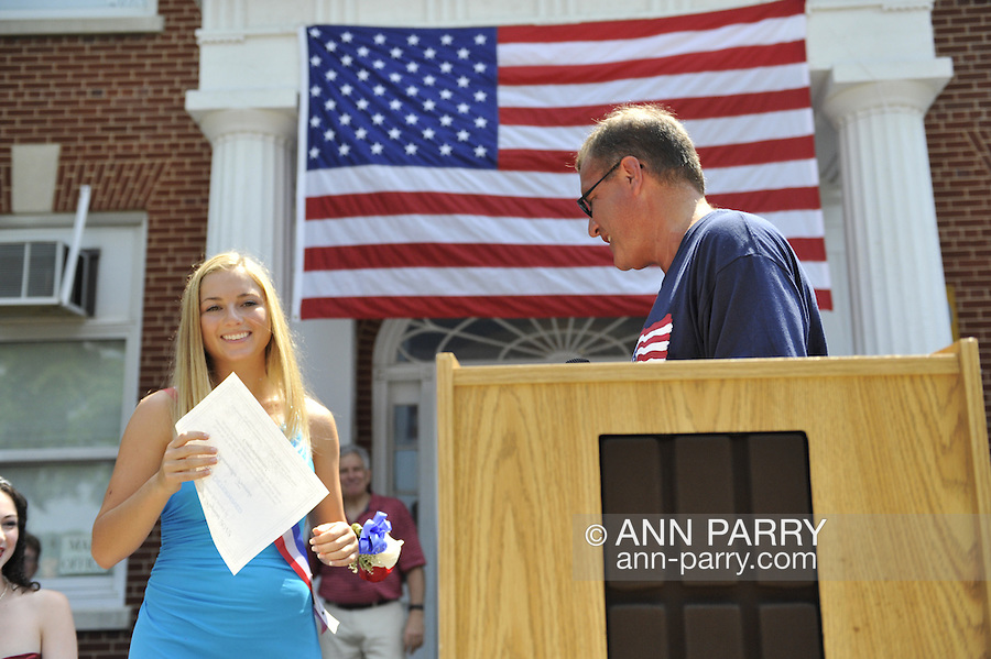 Miss Wantagh Pageant ceremony, a long-time Independence Day tradition on Long Island, is Wednesday, July 4, 2012, at Wantagh School, New York, USA. Hailey Orgass, Miss Wantagh 2012, was crowned by Kara Arena, Miss Wantagh 2011, who sang two patriotic songs. First runner up was Allysa Kelly, 2nd runner up was Paulina Resner, and 3rd runner up was Allison Hopkins. Since 1956, the Miss Wantagh Pageant, which is not a beauty pageant, has crowned a high school student based mainly on academic excellence and community service.