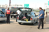 Washington, DC - September 11, 2001 -- Injured person is transported out of The Pentagon in a makeshift ambulance on Tuesday, September 11, 2001..Credit: Ron Sachs / CNP