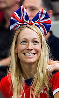 31 JUL 2012 - LONDON, GBR - A Great Britain supporter watches the men's London 2012 Olympic Games Preliminary round match between Great Britain and Sweden in The Copper Box in the Olympic Park, in Stratford, London, Great Britain .(PHOTO (C) 2012 NIGEL FARROW)
