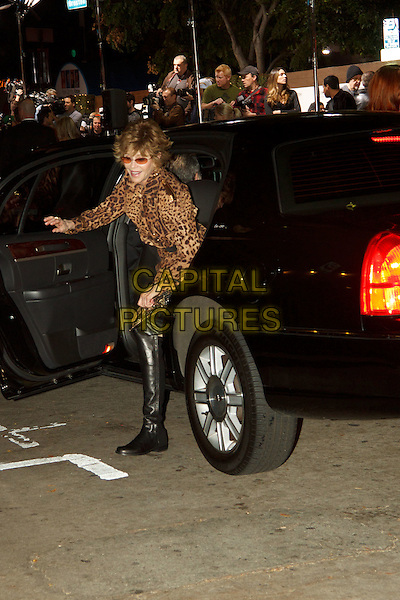 JANE FONDA.World Premiere of 'How Do You Know' at the Mann Village Theatre, Westwood. Los Angeles, CA, USA, .December 13th, 2010. .full length leather knee high boots leopard print brown getting out of car .CAP/CEL.©CelPh/Capital Pictures.