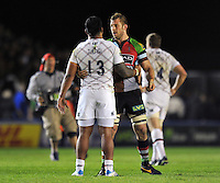 Manu Tuilagi and Chris Robshaw embrace after the final whistle. Aviva Premiership match, between Harlequins and Leicester Tigers on April 18, 2014 at the Twickenham Stoop in London, England. Photo by: Patrick Khachfe / JMP