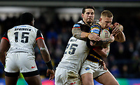Leeds Rhinos' Mikolaj Oledzki is tackled by Toronto Wolfpack's Jack Wells and Sonny Bill Williams<br /> <br /> Photographer Alex Dodd/CameraSport<br /> <br /> Betfred Super League Round 6 - Leeds Rhinos v Toronto Wolfpack - Thursday 5th March 2020 - Headingley - Leeds<br /> <br /> World Copyright © 2020 CameraSport. All rights reserved. 43 Linden Ave. Countesthorpe. Leicester. England. LE8 5PG - Tel: +44 (0) 116 277 4147 - admin@camerasport.com - www.camerasport.com