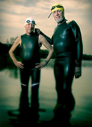 Slug: WK/Triathletes.Date: 4-11-2004.Photographer: Mark Finkenstaedt FTWP.Location: Reston, VA.Caption: Senior Triathletes L-R Harry Bratt aged 75 and Russ preble aged 73.
