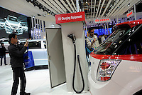 EV Charging Equipment is displayed at BYD stand at the Beijing Auto Show in Beijing, China. The car show has attracted all the world's major auto markers. China's vehicle sales have breached the 10-million barrier for the first time ever, with 10.9 million automobiles sold last year. .24 Apr 2010