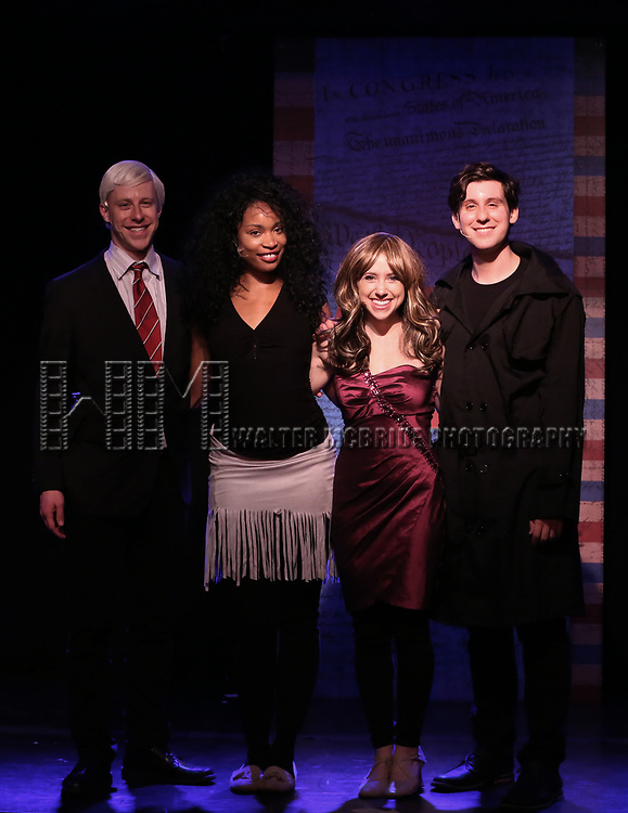 Mitchel Kawash, Aiesha Alia Dukes, Mia Weinberger, and Richard Spitaletta perform onstage during the 'ME THE PEOPLE: The Trump America Musical' Press Preview Presentation at The Triad Theater on June 21, 2017 in New York City.