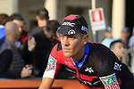 Alessandro De Marchi (ITA) BMC Racing Team at sign on before the start of the 112th edition of Il Lombardia 2018, the final monument of the season running 241km from Bergamo to Como, Lombardy, Italy. 13th October 2018.<br /> Picture: Eoin Clarke | Cyclefile<br /> <br /> <br /> All photos usage must carry mandatory copyright credit (© Cyclefile | Eoin Clarke)