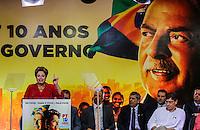 SAO PAULO, SP, 20 FEVEREIRO 2013 -  10 ANOS DO PARTIDO DOS TRABALHADORES GOVERNO FEDERAL NO PODER - A presidente da República Dilma Rousseff  durante a festa do Partido dos Trabalhadores (PT) para celebrar 33 anos do partido e dez anos no comando do Governo Federal, no Holiday Inn Parque Anhembi, na zona norte de São Paulo, nesta quarta-feira, 20. FOTO: WILLIAM VOLCOV / BRAZIL PHOTO PRESS