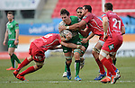 Connacht's Jake Heenan is tackled by Scarlets' John Barclay<br /> <br /> Rugby - Scarlets V Connacht - Guinness Pro12 - Sunday 15th Febuary 2015 - Parc-y-Scarlets - Llanelli<br /> <br /> © www.sportingwales.com- PLEASE CREDIT IAN COOK