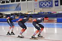 SCHAATSEN: SALT LAKE CITY: Utah Olympic Oval, 14-11-2013, Essent ISU World Cup, training, Alexis Contin (FRA), Ewen Fernandez (FRA), Benjamin Macé (FRA), ©foto Martin de Jong