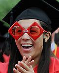 (Boston Ma 051814) Excited grad Alli Georgadadellis of Dartmouth, Ma., during the Boston University Graduation, Sunday, May 18, 2014, in Boston. (Jim Michaud Photo) For Monday