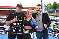 Lisa Whiteside (black shorts) defeats Danni Hodges at Boxing Show at Stevenage Football Club on 18th May 2019