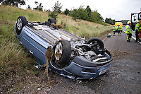 RTC involving a car that has crashed and rolled onto its roof and then into the embankment on the M40 motorway Warwickshire UK. This image may only be used to portray the subject in a positive manner..©shoutpictures.com..john@shoutpictures.com