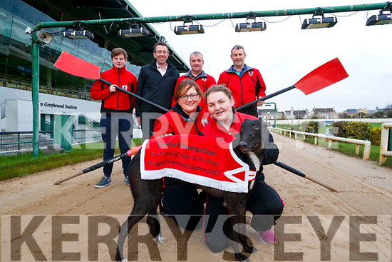 Pictured at the launch of the Fossa Rowing Club Night at the Dogs, which takes place at the Kingdom Greyhound Stadium, Tralee, on Saturday, December 2nd, front l-r: Theresa Wharton and Maura Twiss. Back l-r: Liam O'Riordan, Thomas O'Connell Pat Talbot with Declan Dowling (Manager of Kingdom Greyhound Stadium, Tralee).