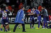 MEDELLÍN -COLOMBIA-08-05-2014.  Jugadores de Defensor celebran la victoria de su equipo al termino del encuentro de ida entre Atlético Nacional de Colombia y Defensor Sporting de Uruguay  por los cuartos de final de la Copa Bridgestone Libertadores 2014 jugado en el estadio Atanasio Girardot de Medellín, Colombia./  Players of Defensor celebrate the victory of their team after of the first leg match between Atletico Nacional of Colombia and Defensor Sporting of Uruguay for the quaterfinals of the Copa Libertadores championship 2014 played at Atanasio Girardot stadium in Medellin, Colombia. Photo: VizzorImage/ Luis Ríos /STR
