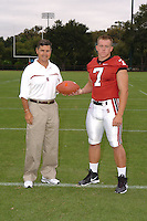 7 August 2006: Stanford Cardinal head coach Walt Harris and Toby Gerhart during Stanford Football's Team Photo Day at Stanford Football's Practice Field in Stanford, CA.