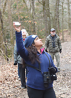 NWA Democrat-Gazette/FLIP PUTTHOFF <br /> Pooja Panwar uses bird calls on her phone to       Feb. 16 2019      attract birds.