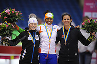 SCHAATSEN: HEERENVEEN: IJsstadion Thialf, 16-11-2012, Essent ISU World Cup, Season 2012-2013, Div-B 1st 500m Ladies, podium Judith Hesse (GER), Anice Das (NED), Brittany Bowe (USA), ©foto Martin de Jong