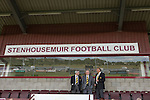 Three directors of Alloa Athletc football club at Ochilview stadium, Larbert, shortly before their team's Irn Bru Scottish League second division match against Stenhousemuir. Alloa won the match by one goal to nil against their local rivals in a match watched by 619 spectators.