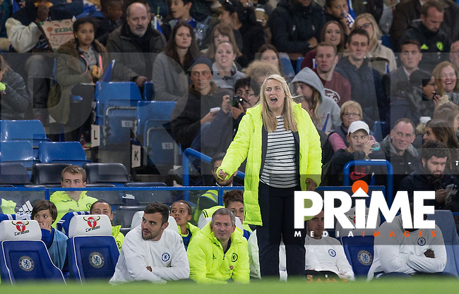 Chelsea Ladies Manager Emma Hayes gives instructions during the UEFA Women's Champions League match between Chelsea Ladies and VfL Wolfsburg at Stamford Bridge, London, England on 5 October 2016. Photo by Andy Rowland.