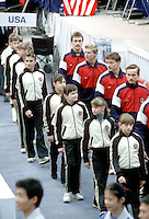 Several team members of Soviet Union gymnastic team march-in during opening ceremony at 1985 World Championships in women's artistic gymnastics at Montreal, Canada in mid-November, 1985.  Photo by Tom Theobald.